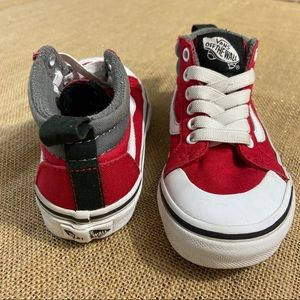 Toddler High top vans size 12 in red/grey/white